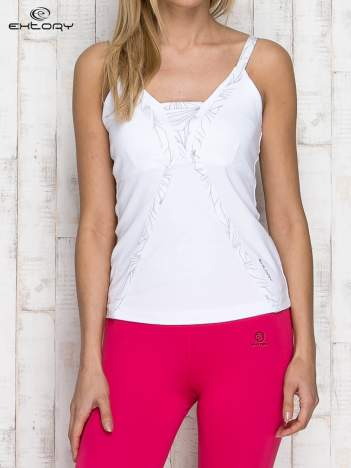 Biały damski top sportowy na ramiączkach