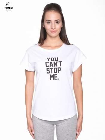 Biały t-shirt z nadrukiem tekstowym YOU CAN'T STOP ME