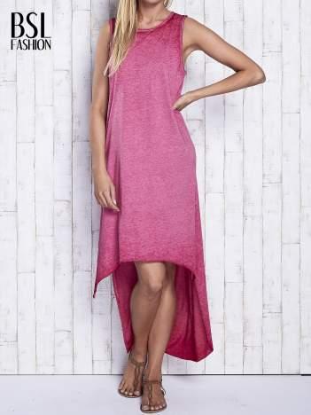 Bordowa dekatyzowana sukienka maxi z dłuższym tyłem