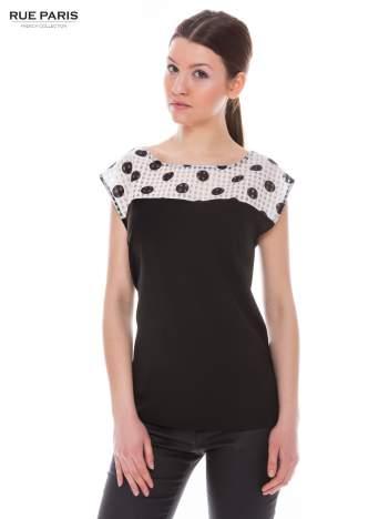 Czarna retro koszula z karczkiem w grochy