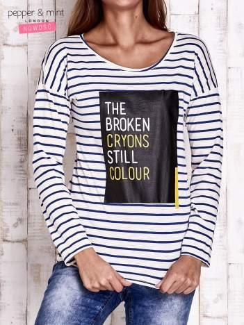 Ecru bluzka w paski z napisem