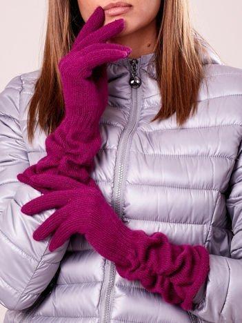 Fuksjowe długie rękawiczki z marszczonym ściągaczem