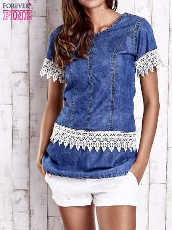 Granatowa jeansowa tunika z koronkowym wykończeniem