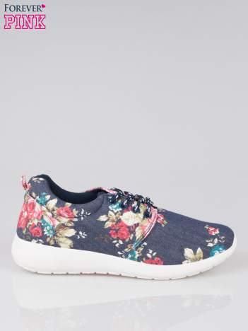Granatowe kwiatowe adidasy na podeszwie flex