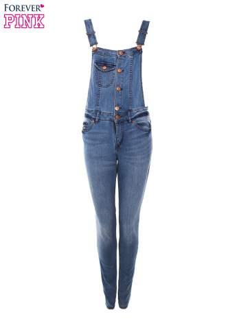 Niebieskie ogrodniczki jeansowe z gorsetową górą