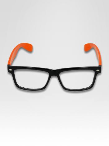 Pomarańczowo-czarne okulary zerówki kujonki