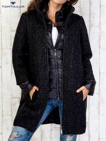 TOM TAILOR Czarny dwuczęściowy płaszcz z kurtką pikowaną