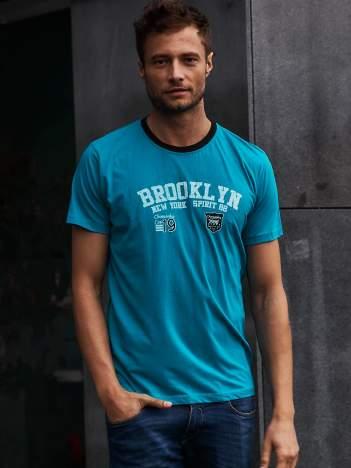 Zielony t-shirt męski z napisami BROOKLYN NEW YORK SPIRIT 86