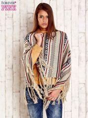 Beżowe poncho w etniczne wzory z frędzlami