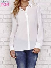 Biała koszula mgiełka z ozdobnym obszyciem