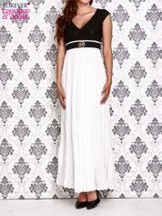 Biała sukienka maxi z koronkową górą i klamrą