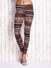 Brązowe legginsy w zimowy motyw