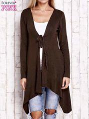 Brązowy wiązany asymetryczny sweter