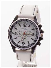 CARSIDUN Biały męski zegarek z ozdobnym chronometrem i tachometrem