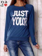 Ciemnoniebieska bluza z napisem JUST YOUR