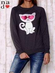 Ciemnoszara bluza z aplikacją kota