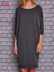 Ciemnoszara sukienka oversize ze ściągaczem