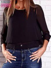 Czarna bluzka koszulowa z biżuteryjnym dekoltem