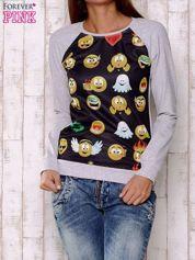 Czarno-szara bluza z nadrukiem emotikonów