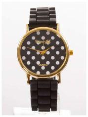 Czarny damski zegarek z tarczą w białe grochy. Wygodny silikonowy pasek