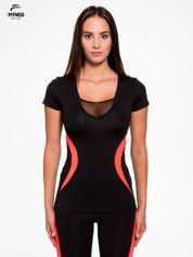 For Fitness Czarny termoaktywny t-shirt sportowy z siateczką przy dekolcie z fluoróżową wstawką ♦ Performance RUN