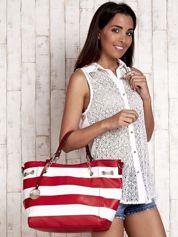 Czerwona torba shopper bag w pasy efekt saffiano