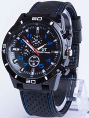 DLA NIEGO... Czarno-niebieski sportowy zegarek męski GT GRAND TOURING