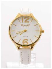 Damski zegarek fashion na białym wąskim skórzanym pasku