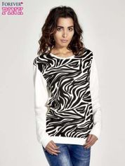 Ecru bluza z nadrukiem zebra print