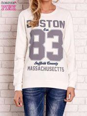 Ecru bluza z napisem BOSTON 83