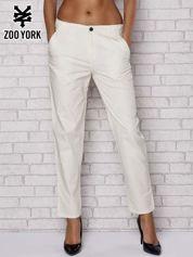 Ecru proste materiałowe spodnie