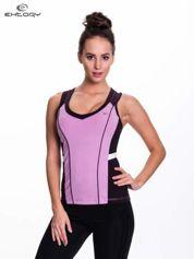 Fioletowo-czarny damski top sportowy z nadrukiem na plecach