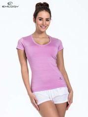 Fioletowy t-shirt sportowy w paseczki