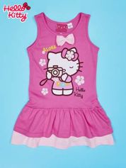 Fuksjowa sukienka dla dziewczynki z kokardką HELLO KITTY