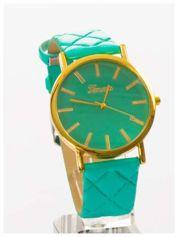 GENEVA Miętowy zegarek damski na pikowanym pasku