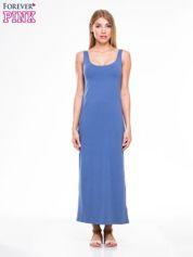Jasnoniebieska długa sukienka maxi na ramiączkach