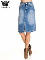 Jeansowa spódnica z rozporkiem w stylu vintage