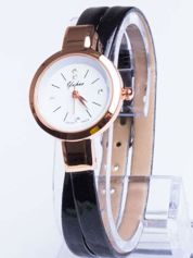 Klasyczny piękny zegarek z cyrkoniami na skórzanym pasku