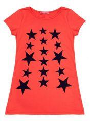 Koralowa sukienka dla dziewczynki z gwiazdkami