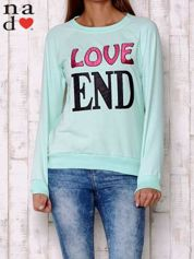 Miętowa bluza z napisem LOVE END