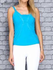 Niebieski damski top sportowy na ramiączkach