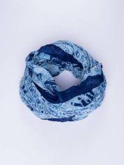 Niebieski orientalny szal we wzór ze słoni