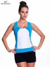 Niebieski top sportowy na fitness
