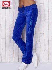 Niebieskie welurowe spodnie dresowe z cekinami