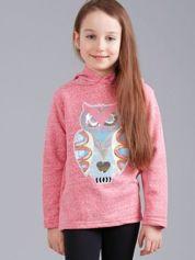 Różowa melanżowa bluza dziewczęca z aplikacją sowy