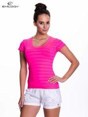 Butik Różowy damski t-shirt sportowy w paski