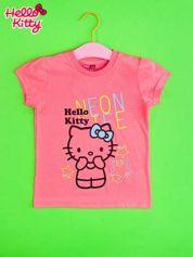 Różowy t-shirt dla dziewczynki HELLO KITTY z gwiadkami