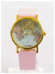 Różowy zegarek damski na skórzanym pasku