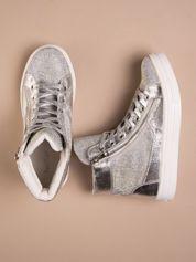 Srebrne płaskie sneakersy damskie z kryształkami