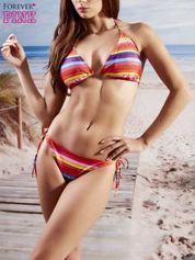 Stanik od bikini w różnokolorowe paski wiązany na szyi